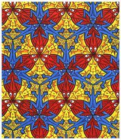 Lizard / Fish / Bat (tessellation 85)  M. C. Escher