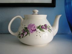 Vintage Hall China Teapot New York White with lilac purple flowers