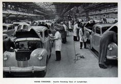 Austin cars receiving hand finishing at Longbridge, Austin Cars, The Austin, Royal Marines, Motor Car, Birmingham, Jaguar, Wonders Of The World, Vintage Cars, Classic Cars