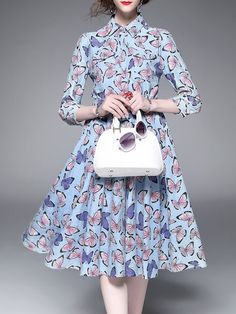 Turtleneck Cotton-blend Printed Casual 3/4 Sleeve Midi Dress