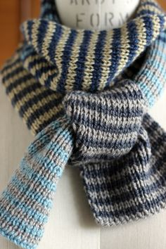 One by One, Two by Two Scarf Project - using British Blue wool from erika knight yarn collection