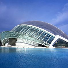 I love the way this building looks as though it's sinking in the water - Valencia City Arts and Sciences Building. Santiago Calatrava