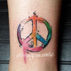 "Love the water color peace sign. My next tattoo but with the words, ""you can't find peace by avoiding life"" -mother Teresa"