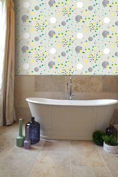 Glitter Cannon wallpaper by Kate Usher Studio, room setting: Lartington Hall, Co. Durham.
