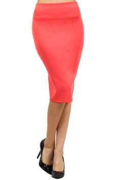 Banded Fitted Knee Length Pencil Skirt with a Slit Detail Coral - SurelyMine