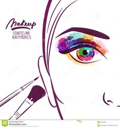 Vector Illustration Of Young Woman Face With Colorful Eye And Makeup Brushes. - Download From Over 42 Million High Quality Stock Photos, Images, Vectors. Sign up for FREE today. Image: 66734220