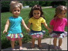 Denim skirt  for 18 inch American Girl doll by GiGisDollCreations, 5.99