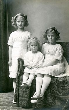 The three eldest children of Prince and Princess Andrew of Greece (Princess Alice of Battenberg). From left, Princess Theodora, later Margravine of Baden (1906-69), Princess Cecilie (Cecile), later Grand Duchess of Hesse and by Rhine (1911-1937) and Princess Margarita (1905-1981), later Princess of Hohenlohe-Langenburg. They are sisters of Prince Philip, Duke of Edinburgh.