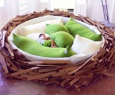 Keep your young ones safe and cozy with hawk-like protectiveness with the giant bird's nest bed. Spanning nearly fifteen feet in diameter, this bird's nest bed can fit up to sixteen of your offspring as both a playground and a napping space. Buy It $15,000.00 via Oge-Architects.com