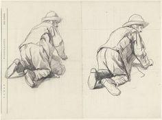 Guillaume Anne van der Brugghen | Twee studies van een op zijn knieën werkende man, Guillaume Anne van der Brugghen, 1821 - 1891 | Twee studies van een op zijn knieën werkende man; getekend op de achterzijde van een intekenlijst van Arti et Amicitiae.
