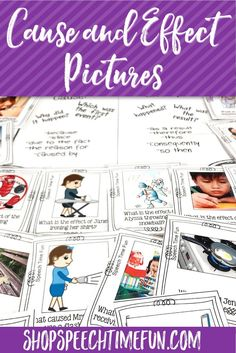 Help your older speech and language therapy students understand how to answer cause and effect questions using real pictures. Fun, motivating, and tons of practice. Help them build their higher level thinking skills in speech!
