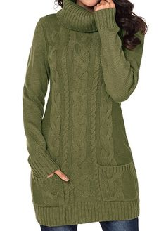 Warm Cable Knit Longline For Women-Olive Green,Size XL Cable Knit Army Green Turtleneck Pocket Sweater Cable Knit Sweater Dress, Cardigan Sweaters For Women, Cable Knit Sweaters, Cardigans For Women, Ladies Sweaters, Women's Sweaters, Stylish Tops For Girls, Trendy Tops For Women, Green Turtleneck