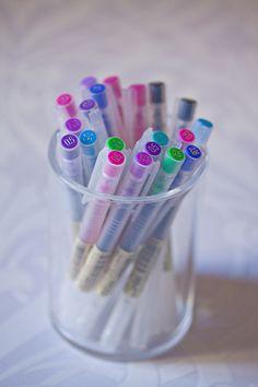 I love Muji's vibrant colored pens!