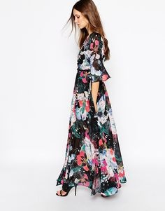 French Connection Chiffon Maxi Dress in Floral Reef