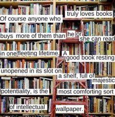 Of course anyone who truly loves books buys more of them than he or she can read in one fleeting lifetime.  A good book resting unopened in its slot on a shelf, full of majestic potentiality, is the most comforting sort of intellectual wallpaper.