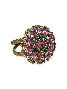 Floral Ring with Intricate Crystal Detail in Lollipop by Sorrelli