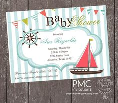 Nautical Baby Shower Invitations - 1.00 each with envelope by PMCInvitations on Etsy https://www.etsy.com/listing/155610241/nautical-baby-shower-invitations-100