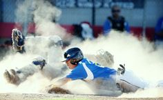 September 28, 2013 ANGELI WRIGHT/AWRIGHT@VICAD.COM • Buy This Photo Stroman High alumnus Paul Moore knocks over Victoria High alumnus catcher Geoff Wheeler as he slides into home plate during Saturday's alumni game at Riverside Stadium. The Raiders alumni defeated the Stingarees alumni 8-7. September 28, Photos Of The Week, Knock Knock, Raiders, Catcher, Plate, Victoria, Gallery, Painting