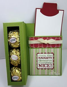 Love this candy box card (tutorial on Becky Roberts' website).