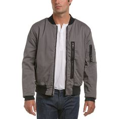 Hudson Jeans Knox Exposed Zipper Bomber Jacket (9.750 RUB) ❤ liked on Polyvore featuring men's fashion, men's clothing, men's outerwear, men's jackets, grey, mens gray leather jacket, mens cotton jacket, mens grey bomber jacket, mens short sleeve jacket and mens zip jacket