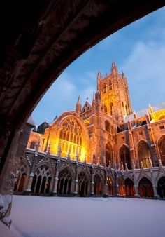 Canterbury Cathedral in the snow, at twilight