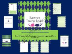 Substitute Teacher Binder- Navy Blue and Green from Ms Ginas Class on TeachersNotebook.com (55 pages)  - Everything you will need to make sure your substitute has an organized and successful day!