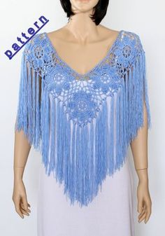 Shawl Handmade Shawl Poncho Blue poncho cape Bridal shawl crochet shawl wedding wrap bridal accessories wedding shawls by ettygeller on Etsy Col Crochet, Crochet Poncho Patterns, Crochet Shawl, Crochet Fringe, Bridal Shrug, Bridal Cape, Wedding Veils, Bridal Headpieces, Cape Pattern