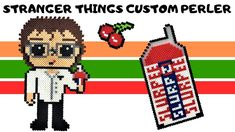 Today I am making Stranger Things season 3 character Alexei out of Perler Beads, complete with his favorite flavor of Slurpee from Perler Bead Templates, Diy Perler Beads, Perler Bead Art, Pearler Beads, Fuse Beads, Slurpee, Stranger Things Season 3, Hobby, Bead Patterns