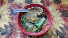 Chicken, Bok Choy, Leek and Mushroom Soup