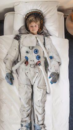 Housse de couette blanche avec image d'un astronaute