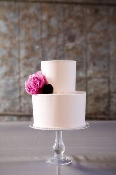 Simple, smooth, beaded wedding cake with single floral blooms. | Pink Peony Wedding cake | http://fabmood.com/wedding-cake/c41/ | LFF Designs | www.facebook.com/LFFdesigns