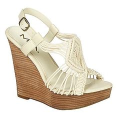 Women's Macrame Wedge Sandal - White- Mia