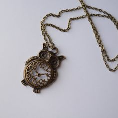 Lovely Antique Bronze Owl Clock Pendant on Extra by PrairieDustInc, $18.00