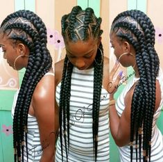 Ghana braids are growing in popularity and are a wonderful style. Check out these unique & hip styles of Ghana braids/Banana braids for your next braids hairdo! My Hairstyle, Girl Hairstyles, Natural Hairstyles, Black Hairstyles, Hairstyles 2018, Feed In Braids Hairstyles, American Hairstyles, Protective Hairstyles, Trendy Hairstyles