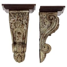 Distressed corbel with scrollwork detail.   Product: Set of 2 corbelsConstruction Material: ResinColo...