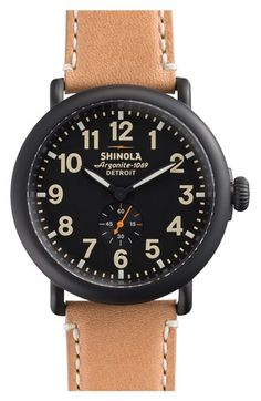 Tried this on and liked it  |  Shinola 'The Runwell' Leather Strap Watch, 47mm | Nordstroms  |  $600