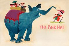 "Love the elephant in  ""The Pink Hat"" Illustration by Paul Hartley, 1957"