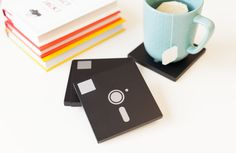 Floppy Disk Coasters made with images from the Cricut® Brooklyn Iron-On digital cartridge. Make It Now with the Cricut Explore machine in Cricut Design Space.