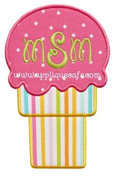 Ice Cream Cone 3 Applique Design Sizes hoop x hoop x hoop x Shown with Monogram Wizard Plus Happy monogram. Embroidery Monogram, Embroidery Applique, Machine Embroidery, Gumball, Applique Patterns, Applique Designs, Motifs D'appliques, Embroidery Designs, Girly