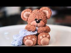 Fondant Teddy Bear, Teddy Bear Cakes, Fondant Baby, Fondant Cake Toppers, Fondant Figures, Fondant Cakes, Fluffy Teddy Bear, Mini Teddy Bears, Cake Decorating With Fondant