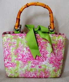 Toile Cape Bag (Pink/Green)