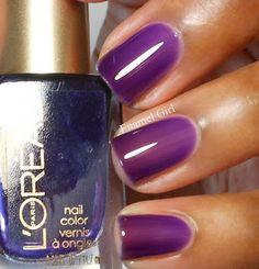 L'Oreal Berry Nice Purple Nail Polish, Nail Polish Art, Gel Nail Art, Nail Polish Colors, How To Do Nails, Fun Nails, Beautiful Nail Polish, Skin Makeup, Natural Nails