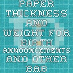 Paper Thickness and Weight chart