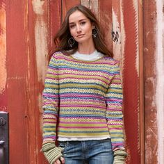 """AVIANA SNOWFLAKE PULLOVER--A pop of cheery color takes the chill off in our lightweight, patterned pullover top with reverse, birds-eye knit cuffs. Cotton/nylon/silk. Hand wash. Imported. Exclusive. Sizes XS (2), S (4 to 6), M (8 to 10), L (12 to 14), XL (16). Approx. 22""""L."""