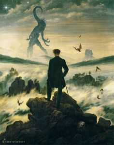"""Dreamer Above the Mist"" Based on this painting by Caspar David Friedrich. (Nyarlathotep borrowed from the Field Guide to Cthulhu Monsters. Lovecraft and Friedrich! Fantasy Kunst, Dark Fantasy Art, Dark Art, Lovecraft Cthulhu, Hp Lovecraft, Cthulhu Art, Caspar David Friedrich, Arte Horror, Horror Art"