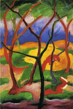Franz Marc - Weasels at Play (1911)