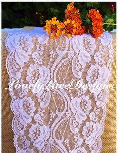 """FALL Decor Lace Table Runner, 3ft to 10ft long x 7"""" wide/ Rustic Decor/Wedding Decor/ weddings/ Overlay/Autumn decoration/ Home Decor/gifts by LovelyLaceDesigns on Etsy"""