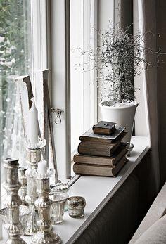 Window ledge with vintage books