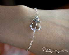 Sideways anchor bracelet, STERLING SILVER - sailors anchor, simple everyday bracelet, anchor jewelry. $19.00, via Etsy.