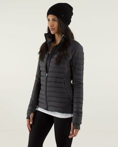2214a13b5b2a4 Lululemon Fluff Off Down Jacket Heathered Herringbone Black size 4  fashion   clothing  shoes